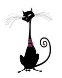 Black Cat in Pearls Isolated on White Royalty Free Stock Photo