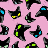 Black cat  pink background seamless Stock Photos
