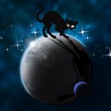 Black cat on the planet Stock Image