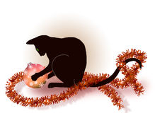 Black cat playing with a Christmas ball. Black oriental cat playing with a Christmas ball and decoration Stock Images