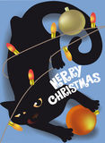 Black cat playing with Christmas decorations holiday card Stock Photos