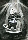 Black cat playing the violin on stage watercolor. Ink Stock Photography