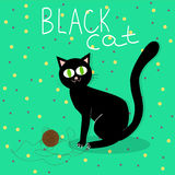 Black cat plays with wool ball. Illustration of black cat plays with wool ball Royalty Free Stock Photography