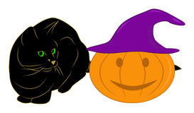Black Cat and Pumpkin Royalty Free Stock Photography