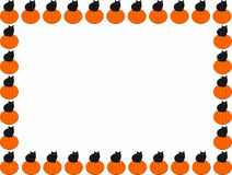Black cat on pumpkin frame. A frame composed of pumpkins with black cats sitting on them, Halloween vector illustration Stock Photography