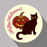Black cat, pumpkin and hand drawn text 'Happy Halloween!'. Round button with black cat, pumpkin and hand drawn text 'Happy Halloween!' Original design element Stock Images