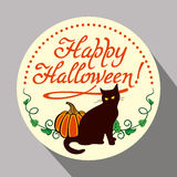 Black cat, pumpkin and hand drawn text 'Happy Halloween!'. Round button with black cat, pumpkin and hand drawn text 'Happy Halloween!' Original design element Royalty Free Stock Photography