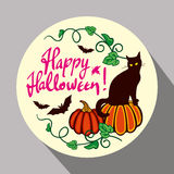 Black cat, pumpkin and hand drawn text 'Happy Halloween!'. Round button with black cat, pumpkin and hand drawn text 'Happy Halloween!' Original design element Stock Photo