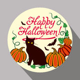 Black cat, pumpkin and hand drawn text 'Happy Halloween!'. Round button with black cat, pumpkin and hand drawn text 'Happy Halloween!' Original design element Royalty Free Stock Images