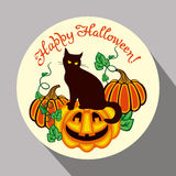 Black cat, pumpkin and hand drawn text 'Happy Halloween!'. Round button with black cat, pumpkin and hand drawn text 'Happy Halloween!' Original design element Stock Photos