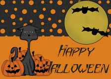 Black Cat Pumpkins Happy Halloween Background Royalty Free Stock Photo