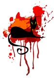 Black cat and red spot Royalty Free Stock Photos