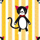 Black Cat with Ribbon on Yellow Line Background Stock Photos