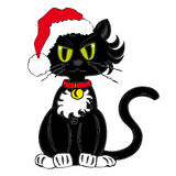 Black Cat with Santa Claus Hat. Royalty Free Stock Images