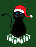 Black Cat with Santa Hat Stock Image