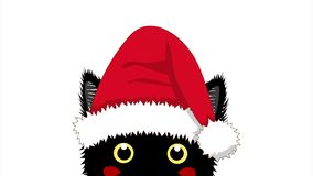 Black Cat with Santa Hat Sneaking. Greeting Card Christmas Day. stock video