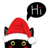 Black Cat with Santa Hat Sneaking. Greeting Card Christmas Day. Vector Illustration. Royalty Free Stock Photos