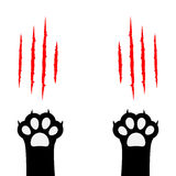 Black cat scratching paw print leg foot set. Bloody claws animal red scratch scrape track. Cute cartoon character body part silhou. Ette. Baby pet collection Royalty Free Stock Photography