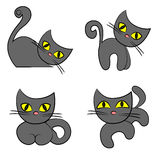 Black cat set. cartoon pet collection Royalty Free Stock Photography