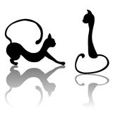 Black cat set silhouette for your design. EPS 8. Black cat set silhouette for your design. And also includes EPS 8 vector Royalty Free Stock Photos