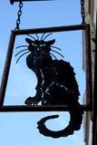 Black Cat Sign. Hanging black cat sign in Paris royalty free stock photos