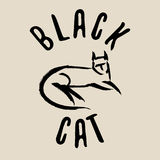 Black cat sign. Black cat logo. Stock Images