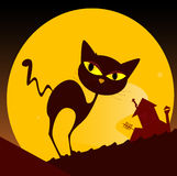 Black cat silhouette and city sunset. Spooky cat silhouette, old house mansion and yellow sunset in background. Vector Illustration Royalty Free Stock Image