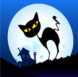 Black cat silhouette in night town. Silhouette of black cat with yellow eyes on the roof. Night town with full moon in background. Vector Illustration