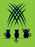 Black Cat Silhouette with Scratches Stock Images