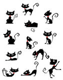 black cat silhouettes royalty free illustration