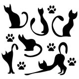 Black cat silhouettes Royalty Free Stock Photos