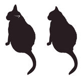 Black cat silhouettes vector illustration. Silhouettes of two black cats vector illustration Royalty Free Stock Photo
