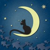 Black cat sits on moon and catches fish among starry sky. Shading, layered paper effects and textures to create depth. Illustration with marble paper effect Royalty Free Stock Photos