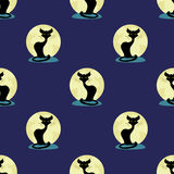 Black cat sitting on a background of the moon. Royalty Free Stock Photo