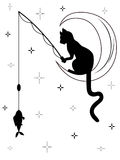 Black cat sitting on the moon and catches a fish. Black cat with long tail sitting on the moon among starry sky and catches a fish with fishing rod, black and Royalty Free Stock Photography