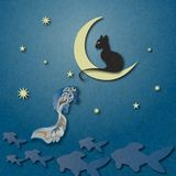 Black cat sitting on moon and fishing golden fish among starry sky. Shading, layered paper effects and textures to create depth. Illustration with marble paper Royalty Free Stock Photos