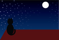 Black cat. A black cat sitting on the roof royalty free illustration