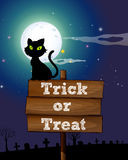 Black cat sitting on the sign at night Royalty Free Stock Photography