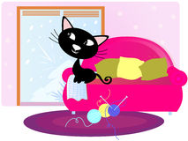Black Cat sitting on sofa looking through window. Cute happy cat on pink sofa in living room. Vector Illustration Royalty Free Stock Photos