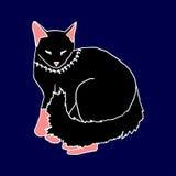 Black cat sleeping on blue background Royalty Free Stock Image