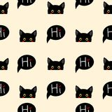 Black Cat Sneaking on Beige Ivory Background. Vector Illustration. Stock Photo