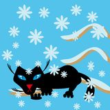 Black cat on a snow branch Royalty Free Stock Images
