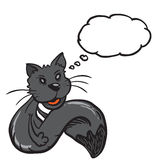 Black cat with speech bubble Stock Photography
