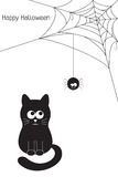Black cat and spider Royalty Free Stock Photos