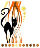 Black cat and strips. Stylized black cat on a white striped background. Halloween illustration Stock Image