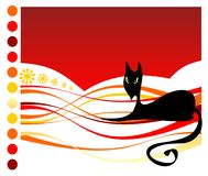 Black cat and strips Royalty Free Stock Image