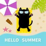 Black cat sunbathing on the beach Yellow air pool water mattress. Hello summer. Top aerial view. Beach, sea ocean, sand, umbrella, Stock Images