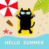 Black cat sunbathing on the beach Yellow air pool water mattress. Hello summer. Top aerial view. Beach, sea ocean, umbrella, sand, Royalty Free Stock Images