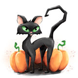 Black cat and three pumpkins Stock Images