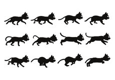Black Cat Transition from Walking to Running Sprite Royalty Free Stock Images